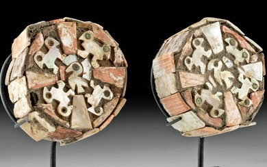Pair of Moche Wood, Nacre Shell, & Turquoise Earspools