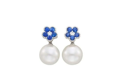Pair of White Gold, South Sea Cultured Pearl, Sapphire