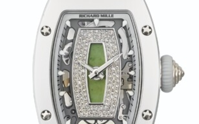 RICHARD MILLE. A LADY'S RARE AND ATTRACTIVE CERAMIC, 18K WHITE GOLD AND DIAMOND-SET TONNEAU-SHAPED LIMITED EDITION AUTOMATIC SEMI-SKELETONIZED WRITHWATCH WITH NEPHRITE DIAL