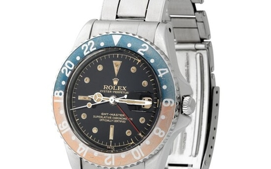 "Rolex. Nice and Beautiful GMT-Master ""Exclamation Point"" Automatic Wristwatch in Steel, Reference 1675, With Black Gilt Dial, Warranty and Bulletin"
