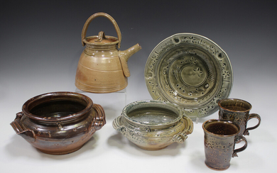 Six pieces of David Osborne studio pottery, including a circular dish and a two-handled bowl, each c