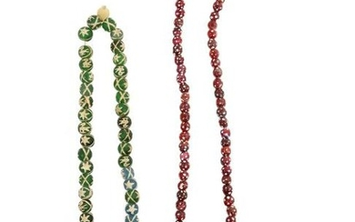 TWO VENETIAN GLASS NECKLACES, 18TH CEN.