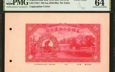 UNITED STATES. The California Ink Co. Inc (USA). No Value, (ca. 1919-20s). P-Unlisted. Test Note. PMG Choice Uncirculated 64.