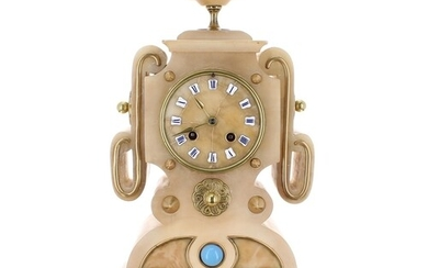 Unusual French alabaster two train mantel clock, the Japy Fr...