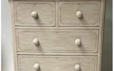 VICTORIAN PAINTED CHEST, grey painted and black lined, with ...