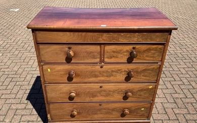 Victorian mahogany chest with frieze drawer and a further two short and three long drawers below on turned feet, 112cm wide x 58cm deep x 127cm high