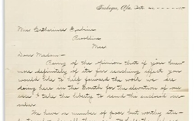 WASHINGTON, BOOKER T. Letter Signed, to Catherine
