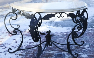 WROUGHT IRON DEMI-LUNE CONSOLE TABLE