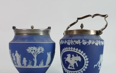 Wedgwood Jasperware biscuit barrels with silver plated fitti...