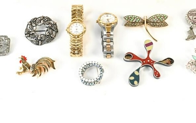 (10) VINTAGE BROOCHES & WATCHES INCL. RAYMOND WEIL