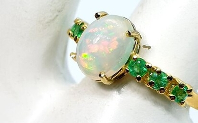 18 kt. Yellow gold - Ring - 1.20 ct Opal - Emeralds