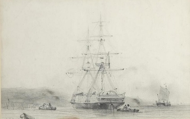 19TH CENTURY DRAWING OF SHIP AND BOATS
