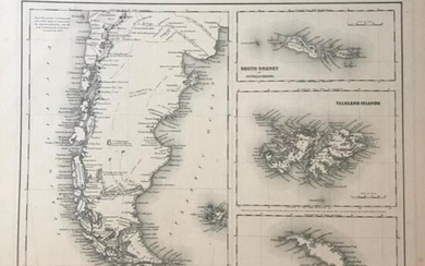 19thc J.H. Colton Map of Patagonia, Faulkland Islands
