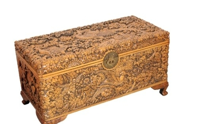 A CARVED CHINESE CHEST 19th/20th century, of rectangular for...