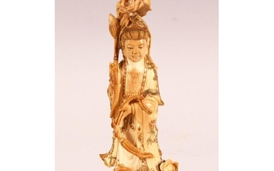 A CHINESE CARVED & POLYCHROME DECORATED IVORY FIGURE OF GUAN...