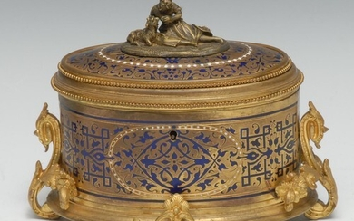 A French Napoleon III oval Champlevé blue enamel and gilt br...