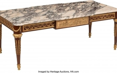 A French Neoclassical Coffee Table with Gilt Bro