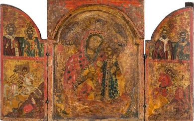 A LARGE TRIPTYCH SHOWING THE MOTHER OF GOD 'THE UNFADING...