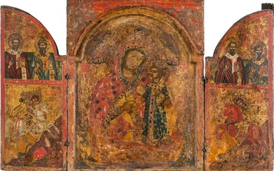A LARGE TRIPTYCH SHOWING THE MOTHER OF GOD 'THE...