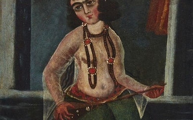 A Qajar oil painting of a young female musician, Iran, late 19th century, depicted wearing a transparent shirt and green skirt and holding her stringed instrument on her lap, depicted wearing a pearl set diadem and necklace, in an interior, canvas...