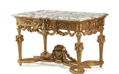 A RÉGENCE STYLE MARBLE TOP GILTWOOD CENTER TABLE