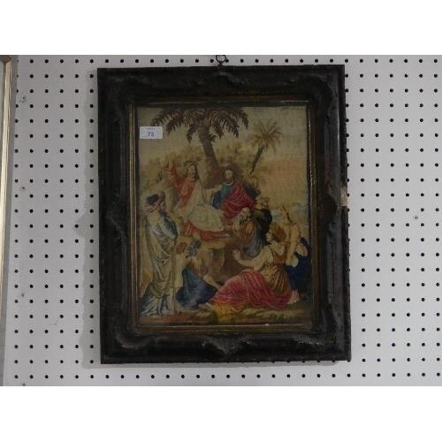 A Victorian embroidered Biblical Picture, depicting Jesus pr...