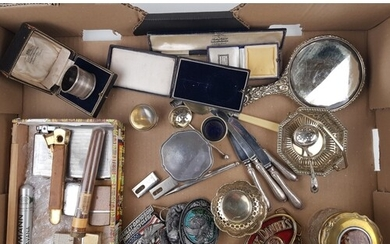 A mixed collection of items including: cased silver napkin r...