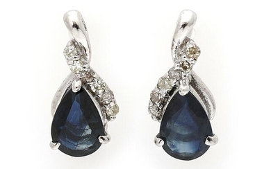NOT SOLD. A pair of ear pendants each set with a sapphire and numerous diamonds, mounted in 14k white gold. (2) – Bruun Rasmussen Auctioneers of Fine Art