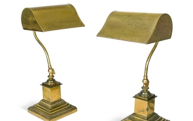 A pair of plated brass banker's lamps, 20th century