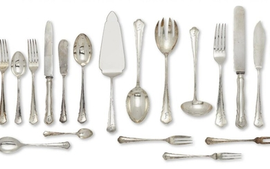 A part set of German flatware by MH Wilkens & Sohne, Bremen- Hemelingen, each piece stamped 800 and designed with shaped terminal engraved with the initial 'F', the part set comprising: 12 table spoons; 12 table forks; 12 table knives; 7 fish...