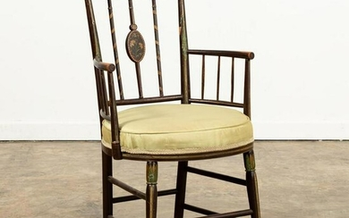 ADAMS STYLE PAINT DECORATED ARM CHAIR