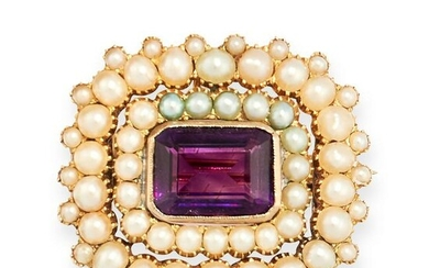 ANTIQUE VICTORIAN AMETHYST AND PEARL BROOCH / PENDANT