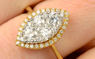 An 18ct gold brilliant-cut diamond marquise-shape cluster ring.