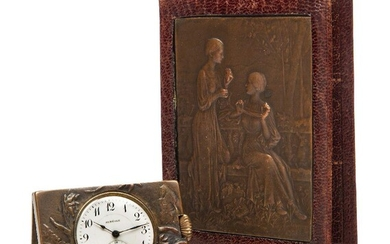 An Auréole travel clock mounted in bronze, Late 19th/Early 20th Century, Auréole on dial, bronze with indistinct signature, stamped 231 & 234, Hinged like a book, one side cast with putti in the clouds, the front with foliage and the inset watch...