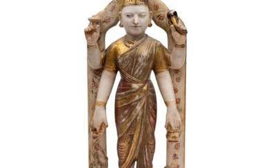 An Indian alabaster and polychrome decorated temple figure: ...