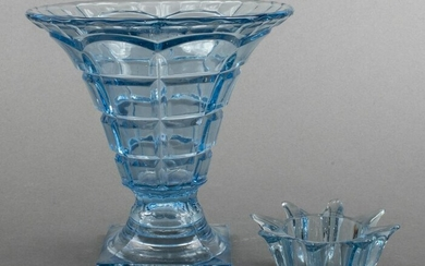 Blue Glass Vase w/ Removable Interior Piece