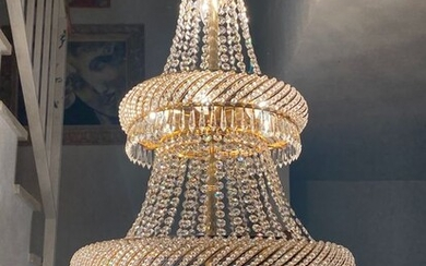 Chandelier, Exclusive Design Lamp Carved in Three Floors with Swaroviski Crystal Tears - Style (1)