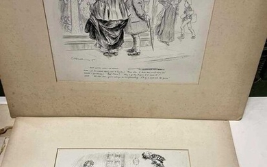 Charles E Brock (1870-1938), seven early 20th century pen and ink cartoons, c. 29 x 38cm, (most