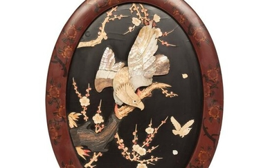 Japanese Meiji Shibayama and Lacquer Eagle Wall Plaque