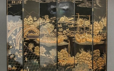 Chinese Raised Gilt Black Lacquer Six-Panel Screen, 20th Century