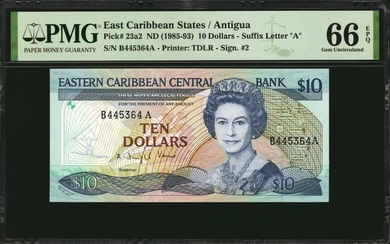 EAST CARIBBEAN STATES. Eastern Caribbean Central Bank. 10 Dollars, ND (1985-93). P-23a2. PMG Gem Uncirculated 66 EPQ.