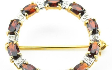Estate 14kt Yellow Gold Diamond & Garnet Brooch