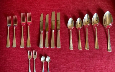 Extensive silver lunch cutlery Haags Lofje for 2 people (17) - .835 silver - Netherlands - Late 20th century