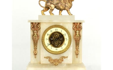 French alabaster and gilt metal mounted two train clock time...