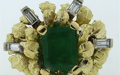 GORGEOUS 18K YELLOW GOLD NATURAL RUSSIAN EMERALD