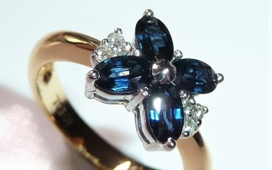 Handcrafted - 18 kt. White gold, Yellow gold - Ring - 1.00 ct Sapphires - 0.12 ct. Diamonds / brilliant cut