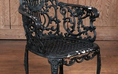 LYRE AND ROSE CAST IRON ARM CHAIR