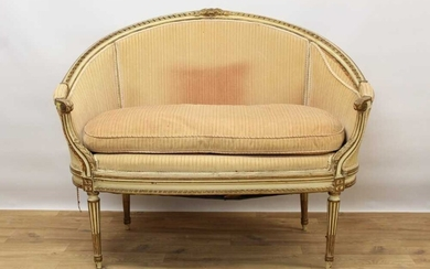 Late 19th / early 20th century French cream painted bergère suite
