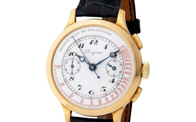 Longines. Very Rare and Catching 13.33 Flyback Chronograph Wristwatch in Yellow Gold, With Enamel Dial and Extract from Archives