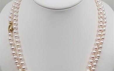 No reserve price - Top Grade AAA 7.5x8mm Akoya Pearls - 14 kt. Yellow gold - Necklace